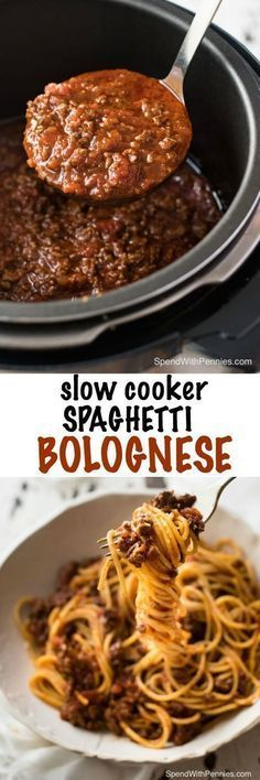 Spaghetti Bolognese made in the slow cooker is extra rich and luscious with beef so tender it melts in your mouth!