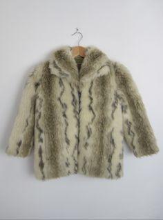 Girls' vintage 1970s cute faux fur coat