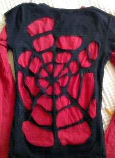 Spiderweb upcycled shirt idea - for when I go see spiderman, of course! (Not a DIY, but you get the point) - Visit to grab an amazing super hero shirt now on sale! Spider Man Party, Spiderman Shirt, Spiderman Costume, Diy Costumes, T Shirt Halloween Costumes Diy, Super Hero Costumes, Holidays Halloween, Halloween Parties, Superhero Party