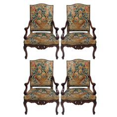 A Fine Set of Four Late Regence Beechwood/Walnut Stained Fauteuils A La Reine, 18th Century | From a unique collection of antique and modern armchairs at http://www.1stdibs.com/furniture/seating/armchairs/