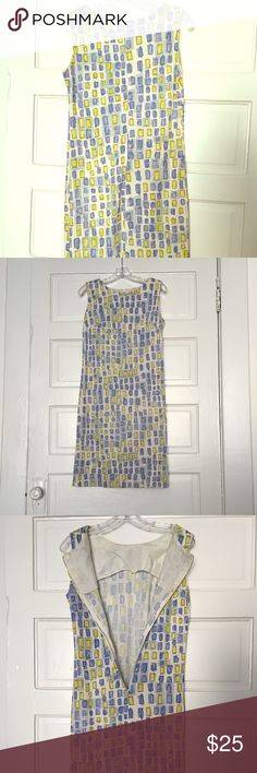 Vintage 1970s-Style Patterned Silk Sheath Dress This is a simple silk sheath dress with an abstract blue and yellow pattern. I picked it up in a Greenwich Village vintage clothing store about six years ago. While I love it, I have a bad habit of impulsively collecting dresses, so it doesn't get much wear. Outer fabric is in excellent condition (no stains or spots), lining has some light stains and wrinkling consistent with what you normally see in vintage clothes. Breathable and a…