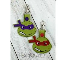 Turtle Teens Snap Tab Key Fob Embroidery Design
