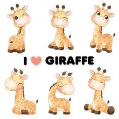 Panda Illustration, Watercolor Illustration, Doodles Bonitos, Baby Animal Drawings, Cute Giraffe Drawing, Baby Animals, Cute Animals, Elephants Playing, Watercolor Lion