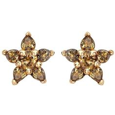 Preowned Ana De Costa Cognac Diamond Gold Flower Stud Earrings (196.435 RUB) ❤ liked on Polyvore featuring jewelry, earrings, multiple, stud earrings, diamond stud earrings, yellow gold earrings, yellow gold diamond earrings, flower stud earrings and gold diamond earrings
