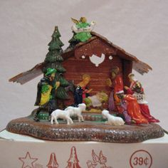Vintage Hard Plastic Nativity Scene Made in Hong Kong Original Box 1950s Very Good Condition..
