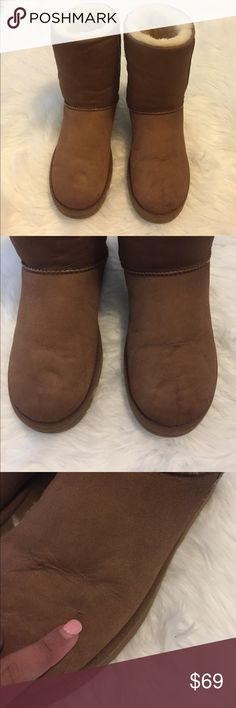 UGG Chestnut Brown Short Boots UGG Australia Short Chestnut Brown Boots. Size: 10. Any wear or tear is shown in pictures. You can fix the side stitching or can even get away with wearing them like that since it's on the inner part. Feel free to ask any questions. Great boots if you don't want to purchase at full price. Fast shipping! UGG Shoes Winter & Rain Boots