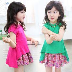 Aliexpress.com : Buy 2014 summer candy color girls clothing baby child irregular expansion clothing qz 0298 on Kids Fashion Clothing - World...