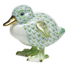 "Herend Hand Painted Porcelain Figurine ""Little Duckling"" Key Lime Fishnet Gold Accents."
