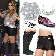 Ally Brooke met fans with her bandmates at the Neon Lights Tour meet & greet in Wallingford wearing a Zara Cropped T-Shirt ($16.90), leather shorts similar to the Forever 21 Faux Leather Shorts ($19.80), her Buttoned Up Knee High Socks ($14.00) and Purple Miista X Uo Georgie Heeled Oxfords (sold out), both from Urban Outfitters and a Faceted Stone Bib Necklace ($10.99) fron Charlotte Russe.