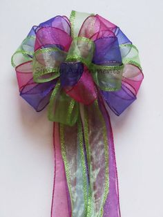 Pink Green Purple Birthday Party Decoration Bow Wedding Pew Bow by SimplyAdornmentsss,