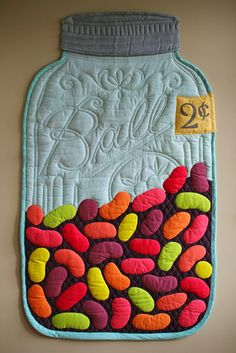 """Jelly Bean Mason Jar quilt, 29 x 51"""", for the Vancouver Modern Quilt Guild's challenge in November 2014.  Original design by Laurraine Yuyama at Patchwork Pottery"""