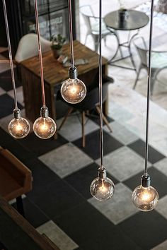 Industrial bare bulbs pendant lights in café / bar. Looks amazing! There's various cool bulbs available for delivery in Australia here: http://tinyurl.com/p6zeqsh