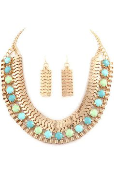 Egyptian Queen Necklace - Mint + Aqua - $24.00 | Daily Chic Accessories | International Shipping