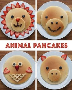 Animal Pancakes Kid Food Fun, Toddler Food, Food For Kids, Fun Kid Meals, Kids Meals Ideas, Easy Cooking For Kids, Toddler Meals, Children Food, Children Recipes