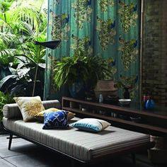 Green nature #curtains and beautiful #designer #fabrics of Jim Thompson, interior design // Ethnic Chic