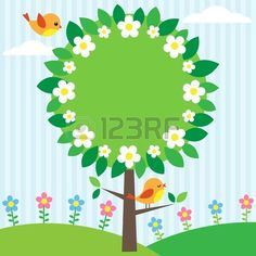 Background with birds, flowers and blooming tree photo