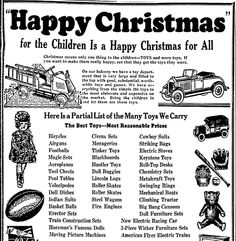 "Christmas toys advertisement, published in the Dallas Morning News newspaper (Dallas, Texas), 7 December 1930. Read more on the GenealogyBank blog: ""Christmas Toys & Gifts from Yesteryear in Old Newspaper Ads."" http://blog.genealogybank.com/christmas-toys-gifts-from-yesteryear-in-old-newspaper-ads.html"