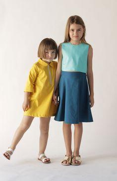 MOTORETA SS16 | Vera dress, yellow · Baza blouse, turquoise & Carlota skirt, blue