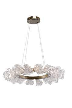Blossom Ring Chandelier Contemporary Transitional Organic Glass Metal Chandelier by Hammerton Bar Chandelier, Art Deco Chandelier, Artisan Lighting, Ring Chandelier, Hotel Chandelier, Light Decorations, Organic Glass, Luxury Chandelier, Chandelier