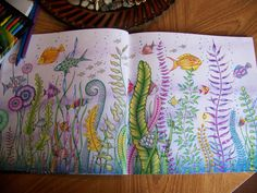 """Adult Coloring Book """"Lost Ocean"""" Johanna Basford. Under water fish / two pages. Colored by Donna Leger"""