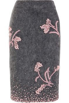 Prada | Embellished mohair-blend pencil skirt