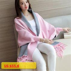 2017 Spring Autumn New Womens Elegant Socialite Cashmere Tassel Shawl Cardigan Sweaters Batwing Sleeves Scarf Cape Coat C191