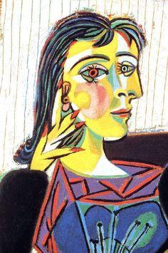 "Painting ©: ""Portrait of Dora Maar"" - by Pablo Ruiz Picasso (Spain, France). Kunst Picasso, Art Picasso, Picasso Paintings, Pablo Picasso Artwork, Dora Maar Picasso, Pablo Picasso Quotes, Cubist Portraits, Cubism Art, Georges Braque"