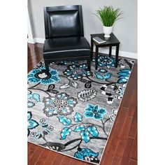 Persian Rugs Dream 1023 Turquoise Floral contemporary area rug, White
