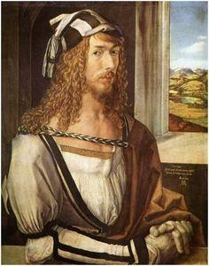 뒤러, <자화상>, 1498  최초의 독립 자화상.   화가로서 완벽한 기법을 구사하여 자신을 귀족적이고 아름다운 모습으로 형상화하여 자신이 지식인 계층에 속해있음을 암시하고 있다. 고급스러운 옷과 분위기로 뒤러 자신이 지적으로, 사회적으로 귀족과 같은 위치에 있다는 사실을 알리고 있다.