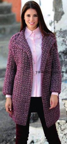 Пальто крупной вязкой описание. Модное пальто из толстых ниток узором из пышных столбиков