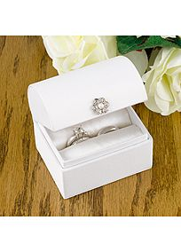 """A unique alternative to the ring bearer pillow, this black satin ring box is perfect for the walk down the aisle and sparkles with a clear gem floral adornment. Lid does not close for presentation purposes. Features and Facts:  Box measures 3"""" x 2 1/2"""".  Rings not included."""
