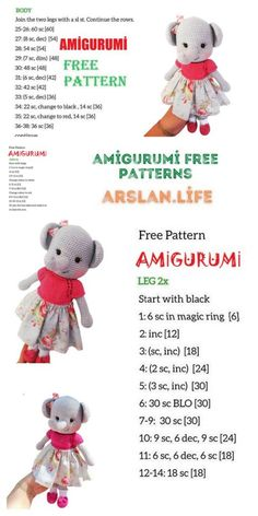 Amigurumi Female Elephant Free Crochet Pattern - Arslan.life Double Crochet, Single Crochet, White Rope, Crochet Patterns Amigurumi, Free Crochet, Free Pattern, Weaving, Teddy Bear, Female