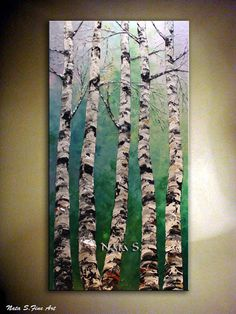 Birch Tree Painting-Heavy Textured Birches by NataSgallery on Etsy