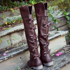Little Bow Chic Tall Brown Riding Boots rustic fall fashion style