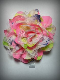 Hey, I found this really awesome Etsy listing at https://www.etsy.com/listing/237353856/neon-chiffon-and-lace-flower-badge-reel