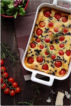 Clafoutis Tomates Cerise & Olives_works better with sundried tomatos