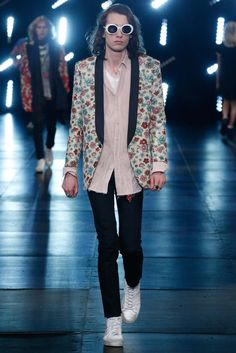 a55c64ad87 Saint Laurent Spring Summer 2016 look featuring white SL 98 California  sunglasses. Men s Collection