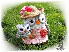 Crochet PATTERN Collectors item 03 Owl Mom with Baby Toy Crochet amigurumi pattern Home Decor DIY Pattern 32 Owl Crochet Patterns, Crochet Birds, Crochet Diy, Crochet Motifs, Crochet Patterns Amigurumi, Crochet For Kids, Crochet Animals, Irish Crochet, Crochet Mignon