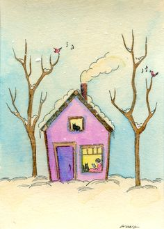 Original ACEO Painting  Staying warm in a little par PainterNik, $35.00