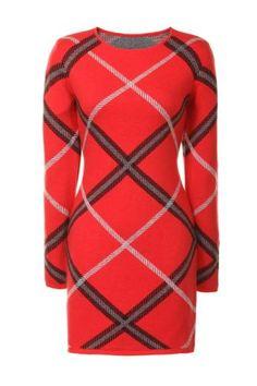 Glamorous Tartan Knitted Dress: Red