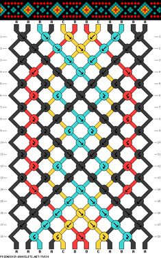friendship bracelet pattern ● diamond ● 12S ● 4C ● A(6), B-D(2)