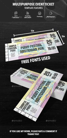 Buy Multipurpose Event Ticket by Cardolito on GraphicRiver. FEATURES Editable PSD Files Print Ready / with bleeds in)/ 300 dpi / CMYK Text is editable Free font. Event Ticket Printing, Event Tickets, Ticket Design, Information Graphics, Print Templates, Fonts, Graphic Design, Free, Collections
