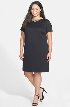 Tahari by Arthur S. Levine Embellished Jacquard Knit Shift Dress (Plus Size) available at #Nordstrom