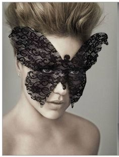 an example of a butterfly mask you could probably make yourself with lace, using glue to keep it's shape