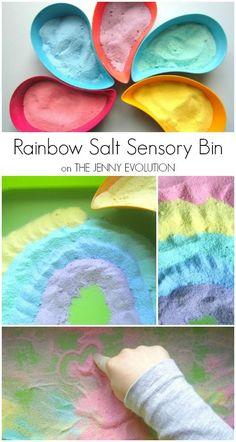 Easy DIY Colored Salt   Rainbow Salt Sensory Bin