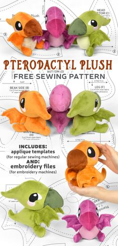 Sewing Patterns Free, Sewing Tutorials, Sewing Crafts, Sewing Projects, Projects To Try, Sewing Machine Embroidery, Embroidery Files, Plush Pattern, Free Pattern