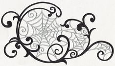 Delicate swirls encompass a series of eerie spider webs, perfect for accenting your home decor for Halloween and more! Web Tattoo, Halloween Silhouettes, Halloween Drawings, Urban Threads, Machine Embroidery Designs, Hand Embroidery, Embroidery Ideas, Flourish, Halloween Crafts