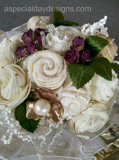 sola (balsa or tapioca) wood bouquet with vintage copper and pearl accent