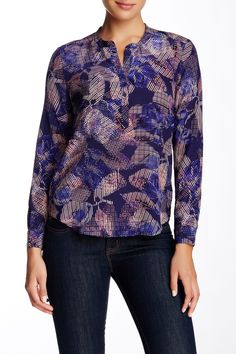Long Sleeve Sonic Garden Silk Blouse by Rebecca Taylor on @nordstrom_rack
