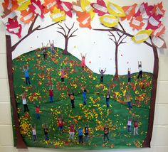 Kindergarten: Sweet Fall Bulletin Board for a classroom! DIY take photos of each of your students with their arms reaching up like they are catching leaves- cool!